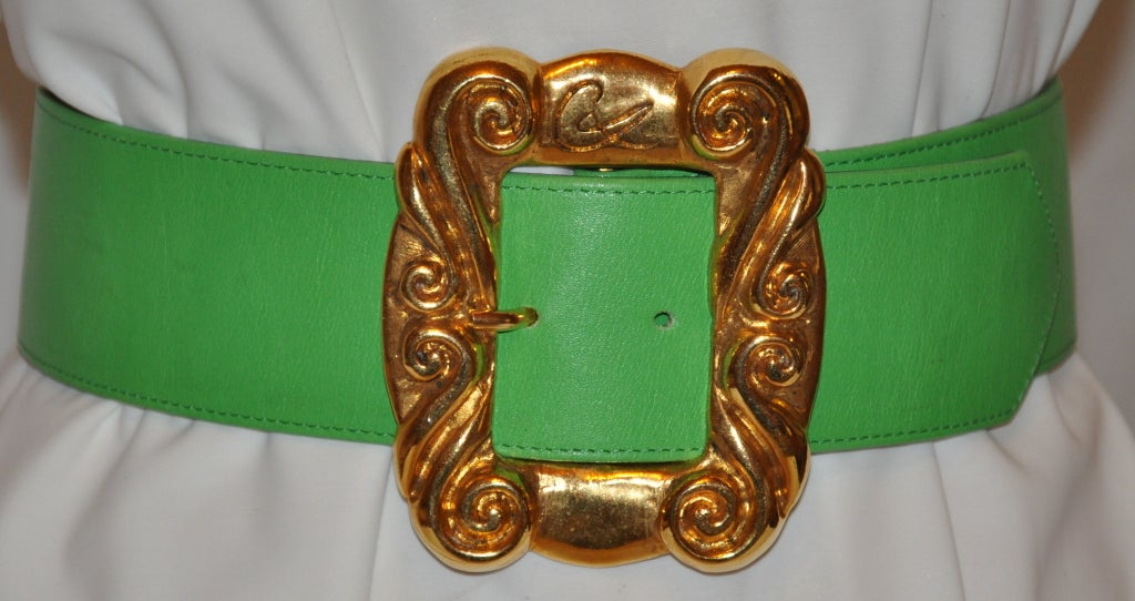 Christian Lacroix neon green with gold hardware belt 2