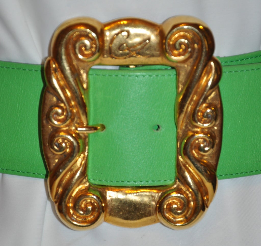 Christian Lacroix neon green with gold hardware belt 3