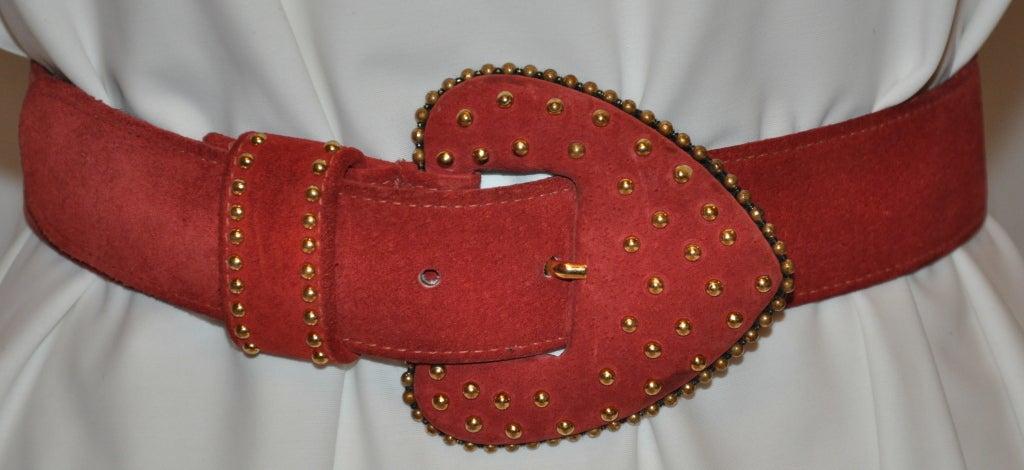 Yves Saint Laurent studded brick-red suede belt 2