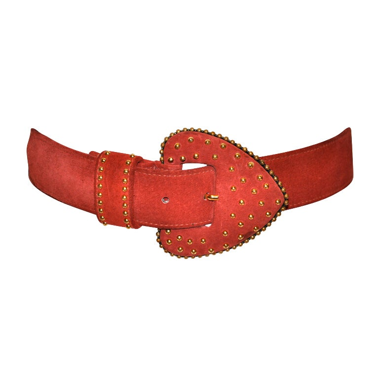 Yves Saint Laurent studded brick-red suede belt For Sale