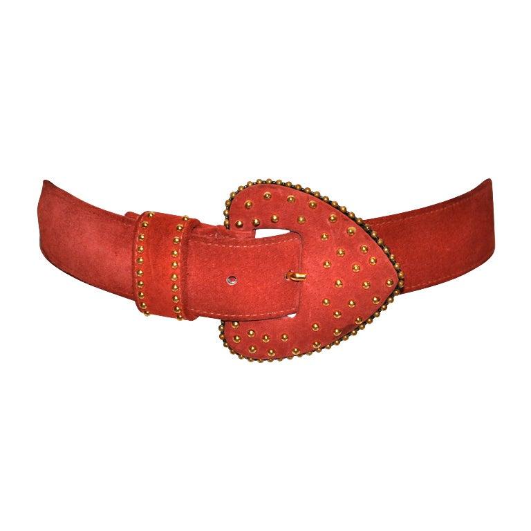 Yves Saint Laurent studded brick-red suede belt 1