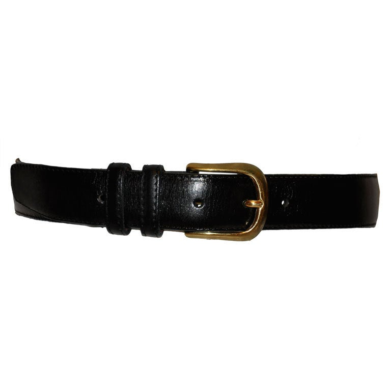 Yves Saint Lauren Men's Black Leather Belt 1