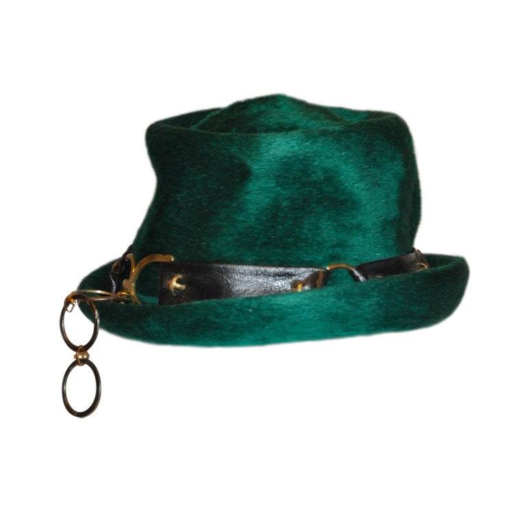 Yves Saint Laurent Emerald Green Wool Hat