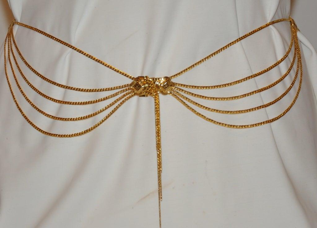 Signed Christian Dior Multi-Chain Gold Hardware Belt 2