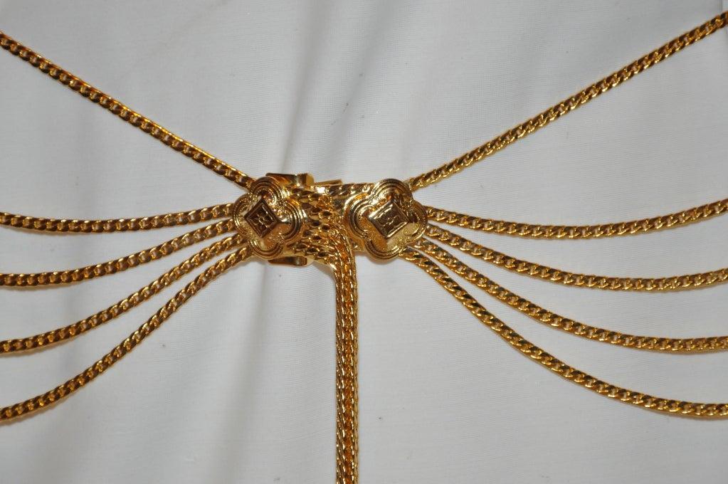 Signed Christian Dior Multi-Chain Gold Hardware Belt 3