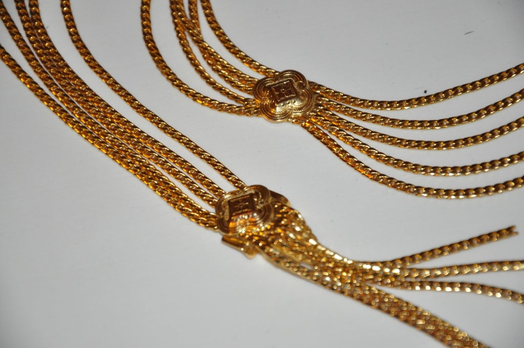 Signed Christian Dior Multi-Chain Gold Hardware Belt 5