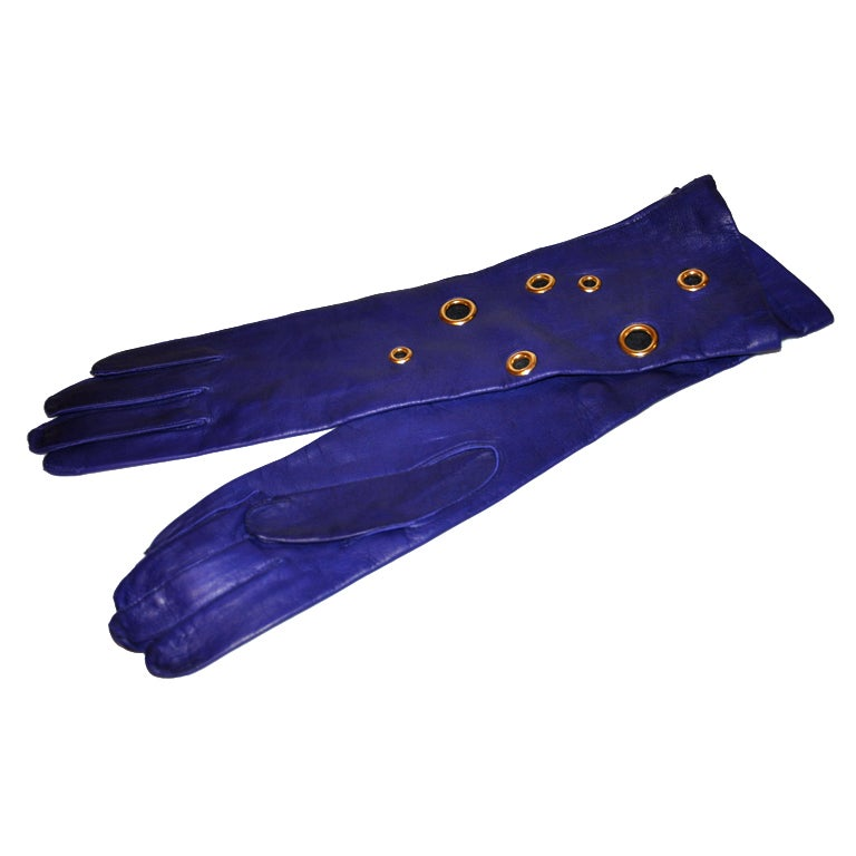 Deep Violet lambskin gloves with gold hardware