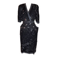 Fabrice black beaded cocktail dress