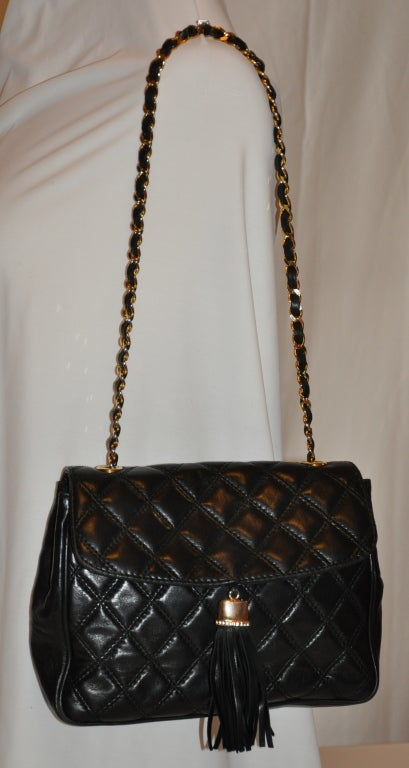 "Bonwit Teller ""Chanel"" style black quilted shoulder bag 2"