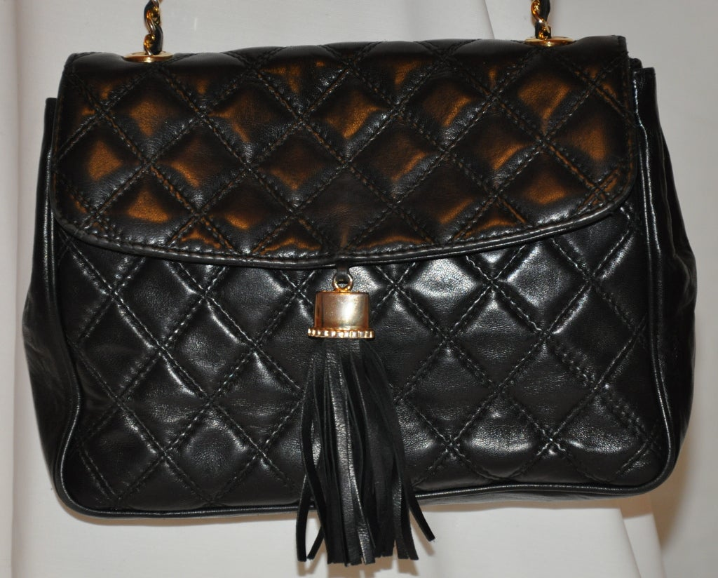 "Bonwit Teller ""Chanel"" style black quilted shoulder bag 3"