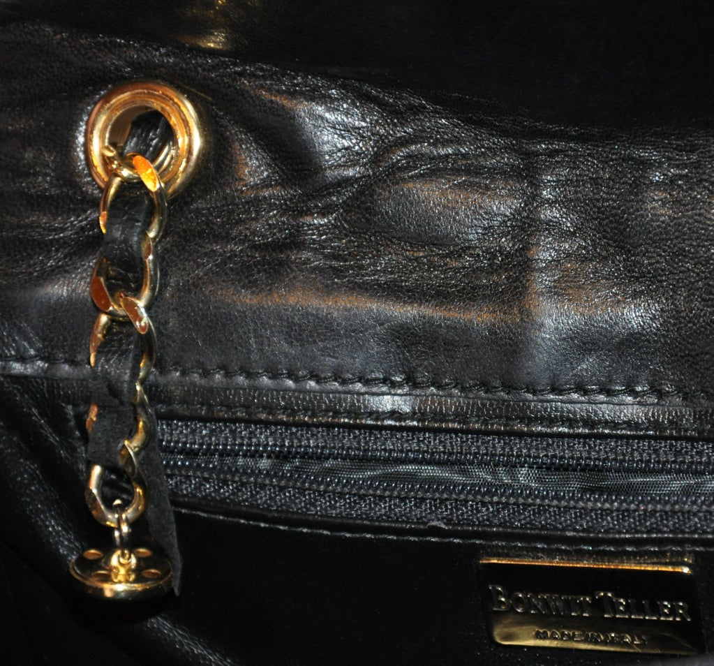 "Bonwit Teller ""Chanel"" style black quilted shoulder bag 4"
