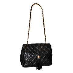 "Bonwit Teller ""Chanel"" style black quilted shoulder bag"