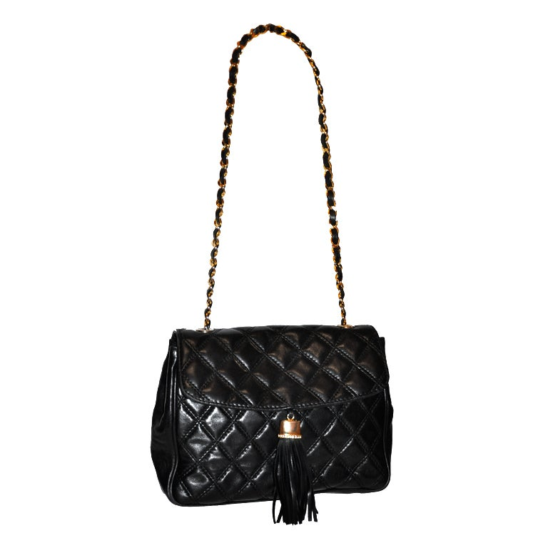 "Bonwit Teller ""Chanel"" style black quilted shoulder bag 1"