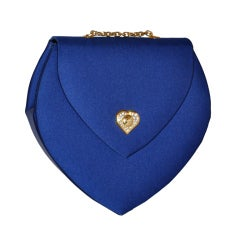 Guy Laroche Blue silk evening bag with gold hardware