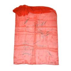 Jaeger deep-red silk chiffon floral print scarf