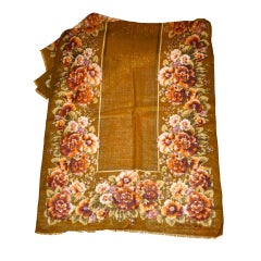 Oscar de la Renta floral print with metallic thread wool scarf