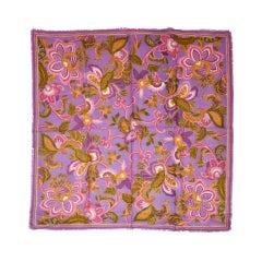 Oscar de la Renta Lavender floral with gold etching wool scarf
