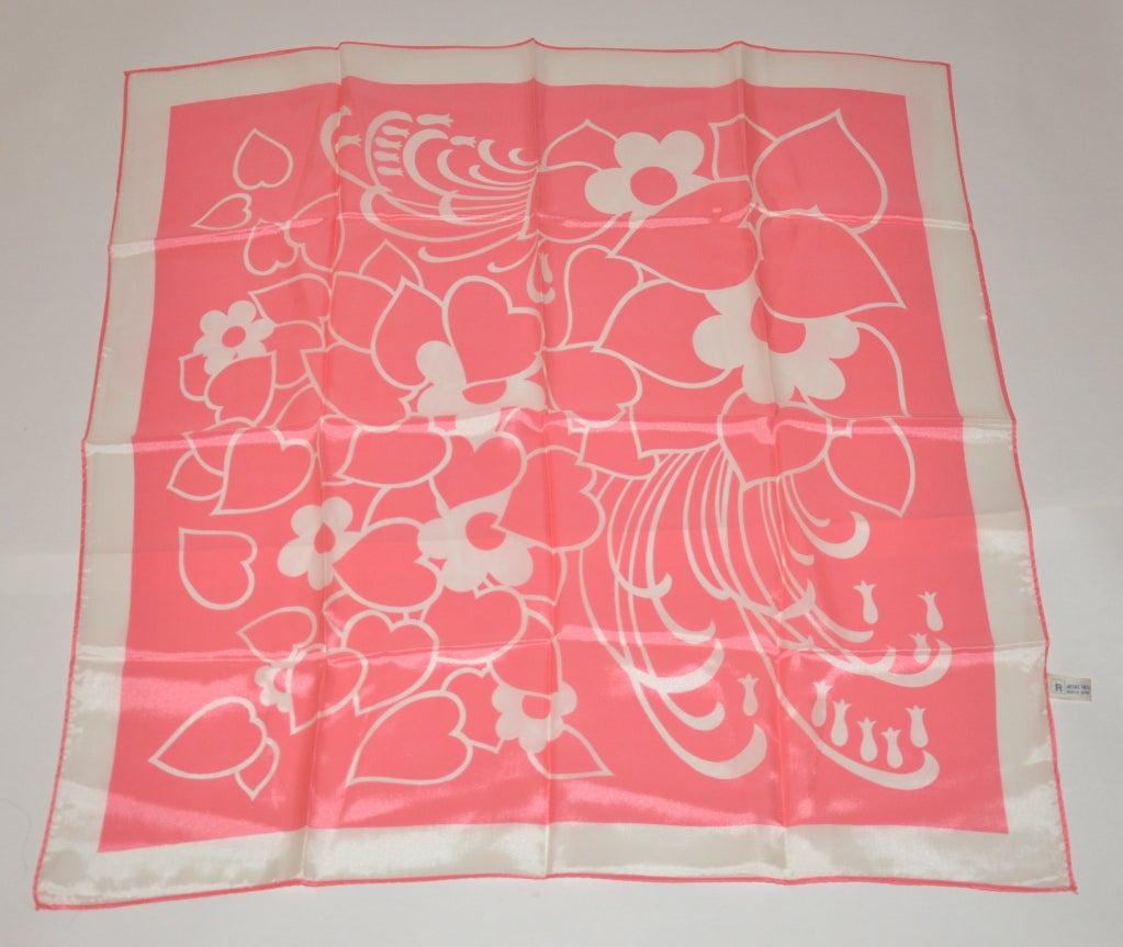 Bold Pink & White print silk scarf 2