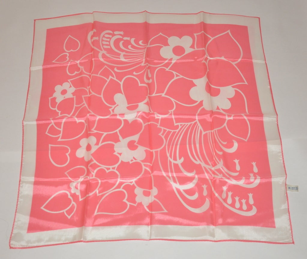 Bold Pink & White print silk scarf 3