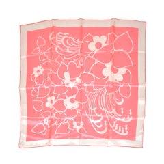 Bold Pink & White print silk scarf