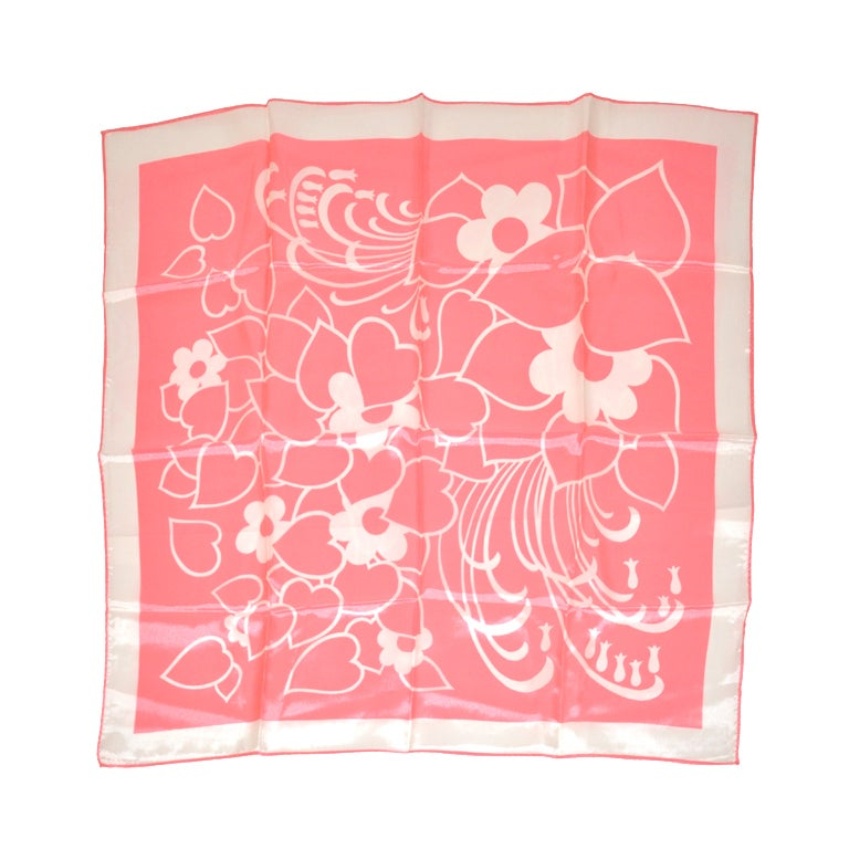 Bold Pink & White print silk scarf 1