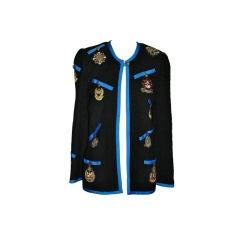 "Adolfo 1968 ""School Girls"" Boucle Insignia Patch Jacket"