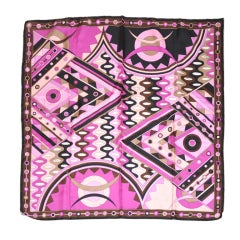 Emilio Pucci Bold Abstract Multicolor Fuchsia Silk Scarf
