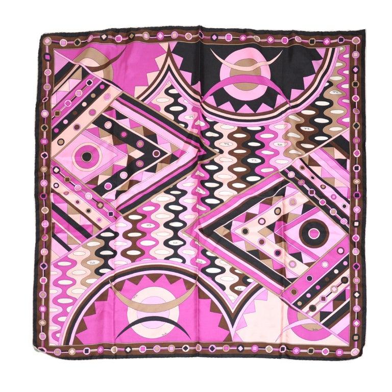 Emilio Pucci Bold Abstract Multicolor Fuchsia Silk Scarf