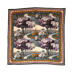 """Perry Ellis """"Country Setting"""" Wool Challis Scarf"""
