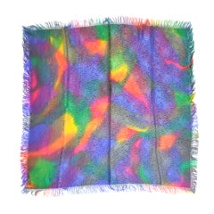 Multicolor silk scarf with silk fringed edges