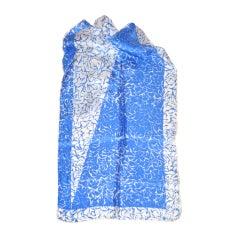 Vera blue & white silk scarf