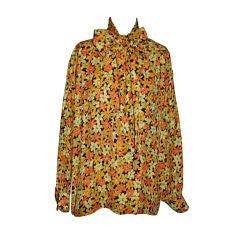 "Yves Saint Laurent Rive Gauche silk floral ""Bow"" blouse"