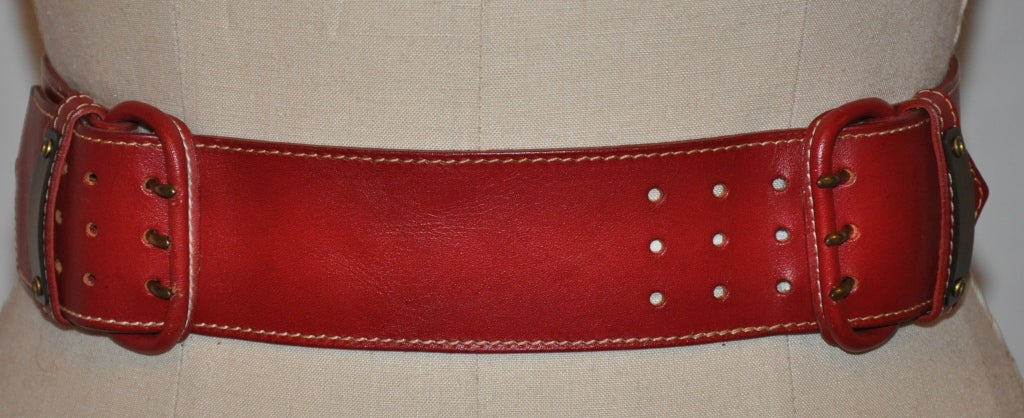 Norma Kamali deep red leather belt 2