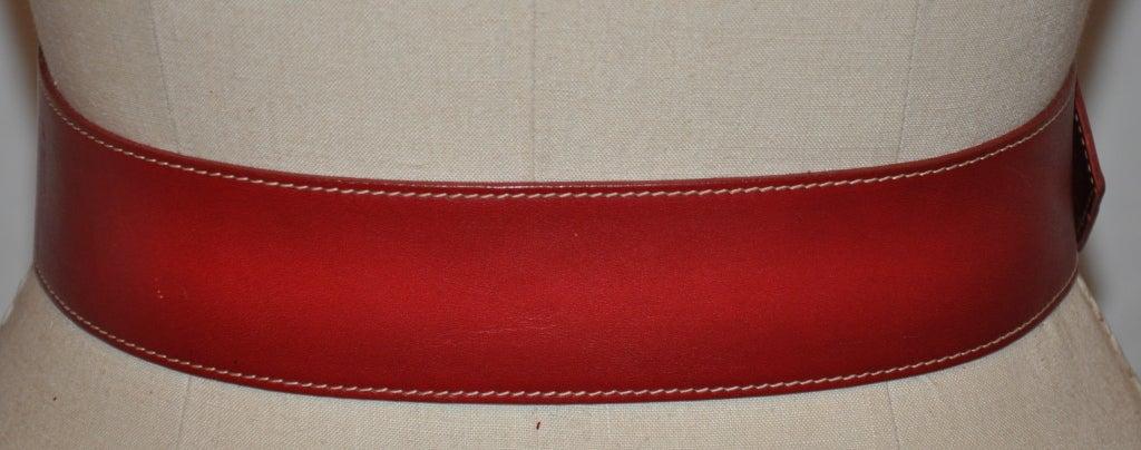 Norma Kamali deep red leather belt 4