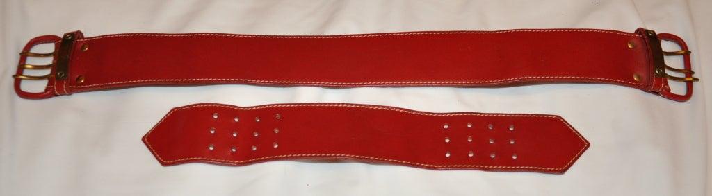 Norma Kamali deep red leather belt 5