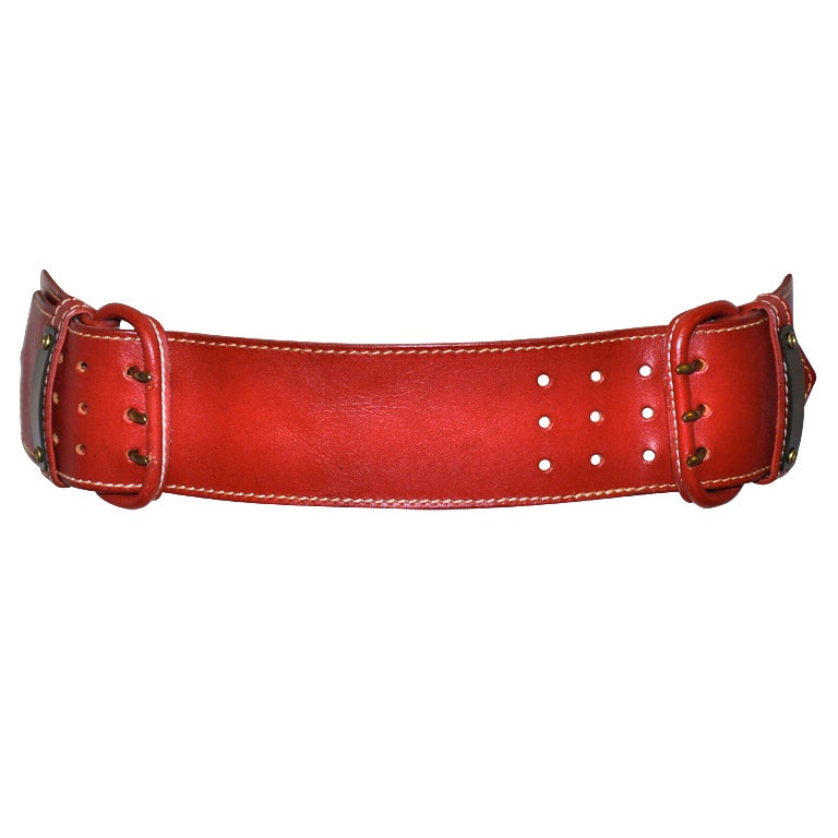 Norma Kamali deep red leather belt