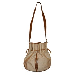 Mark Cross Canvas & Calfskin Drawstring Shoulder Bag