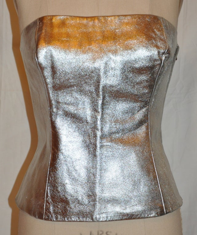 Ted Lapidus metallic silver calfskin bustier 2