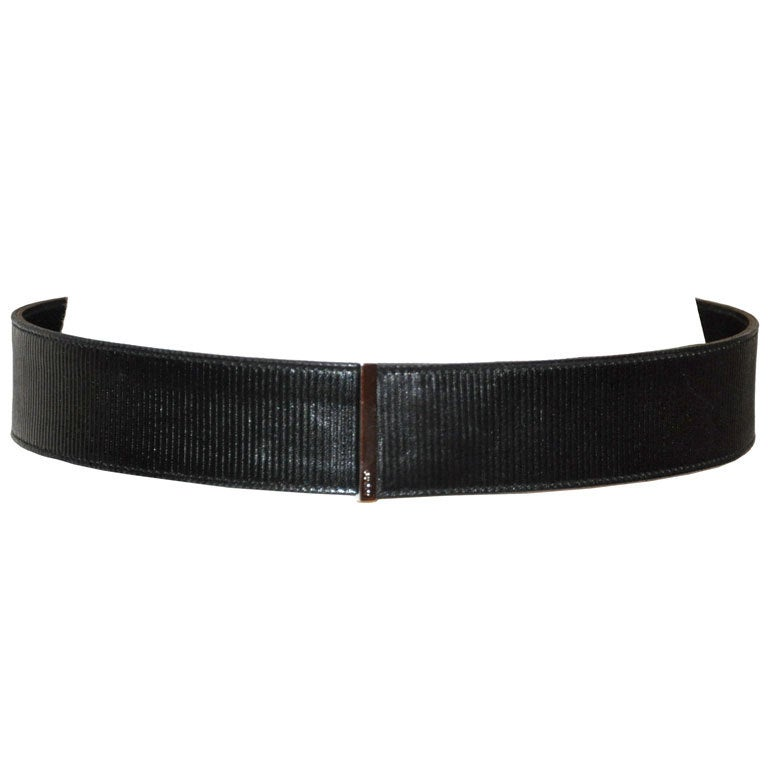 Gucci Textured black leather with silver hardware belt For Sale