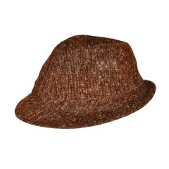 Alberta Ferretti brushed cotton brown hat