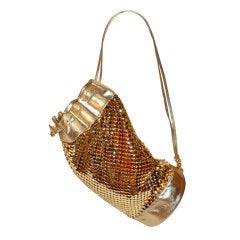 "Rare Judith Leiber for ""Paristyle"" Gold Hardware Mesh Hobo Drawstring Bag"