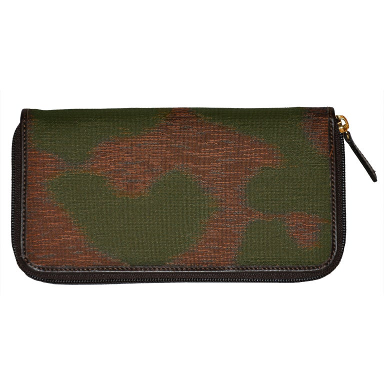 Vivienne Westwood silk & leather zippered wallet For Sale