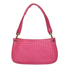 Bottega Veneta Fuchsia Lambskin Woven Leather Clutch-Shoulder Bag