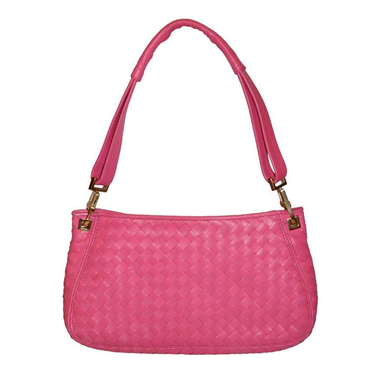 d45f698d1b81 Bottega Veneta Fuchsia Lambskin Woven Leather Clutch-Shoulder Bag For Sale  at 1stdibs