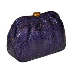 Saks Fifth Avenue Deep-Violet reptile clutch with optional strap