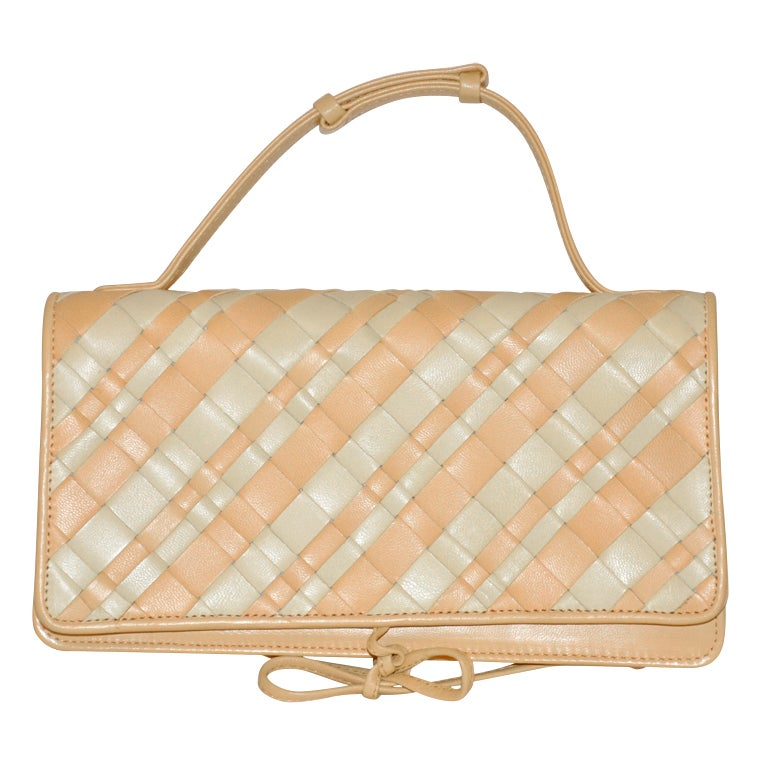 Bottega Veneta Honey & Cream Lambskin Woven Clutch/ Handbag