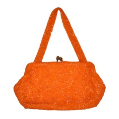 Bonwit Teller Tangerine hand-beaded evening bag