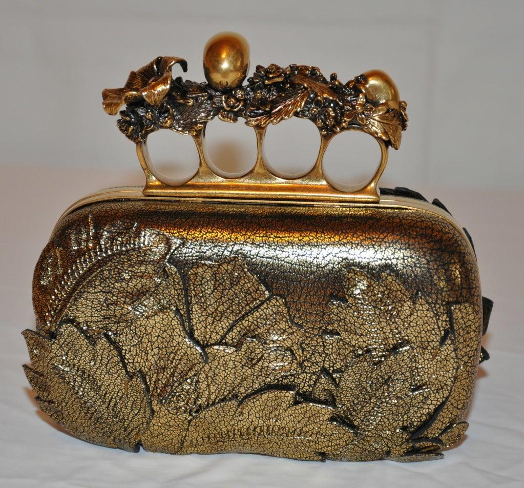 """Alexander McQueen Bronze textured """"Leaf"""" motif clutch image 2"""