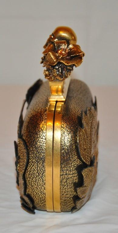 """Alexander McQueen Bronze textured """"Leaf"""" motif clutch image 3"""