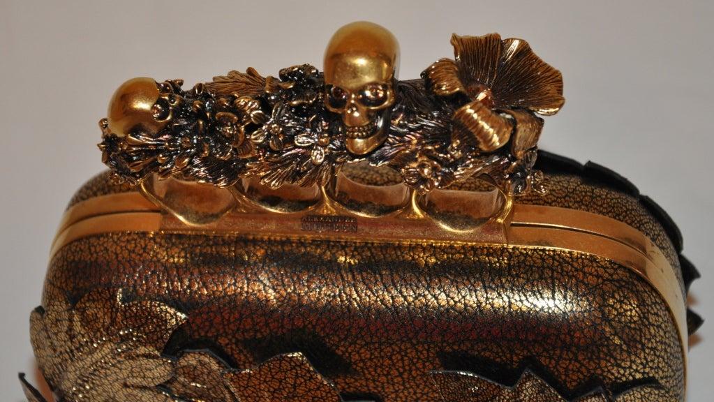 "Alexander McQueen Bronze textured ""Leaf"" motif clutch 4"
